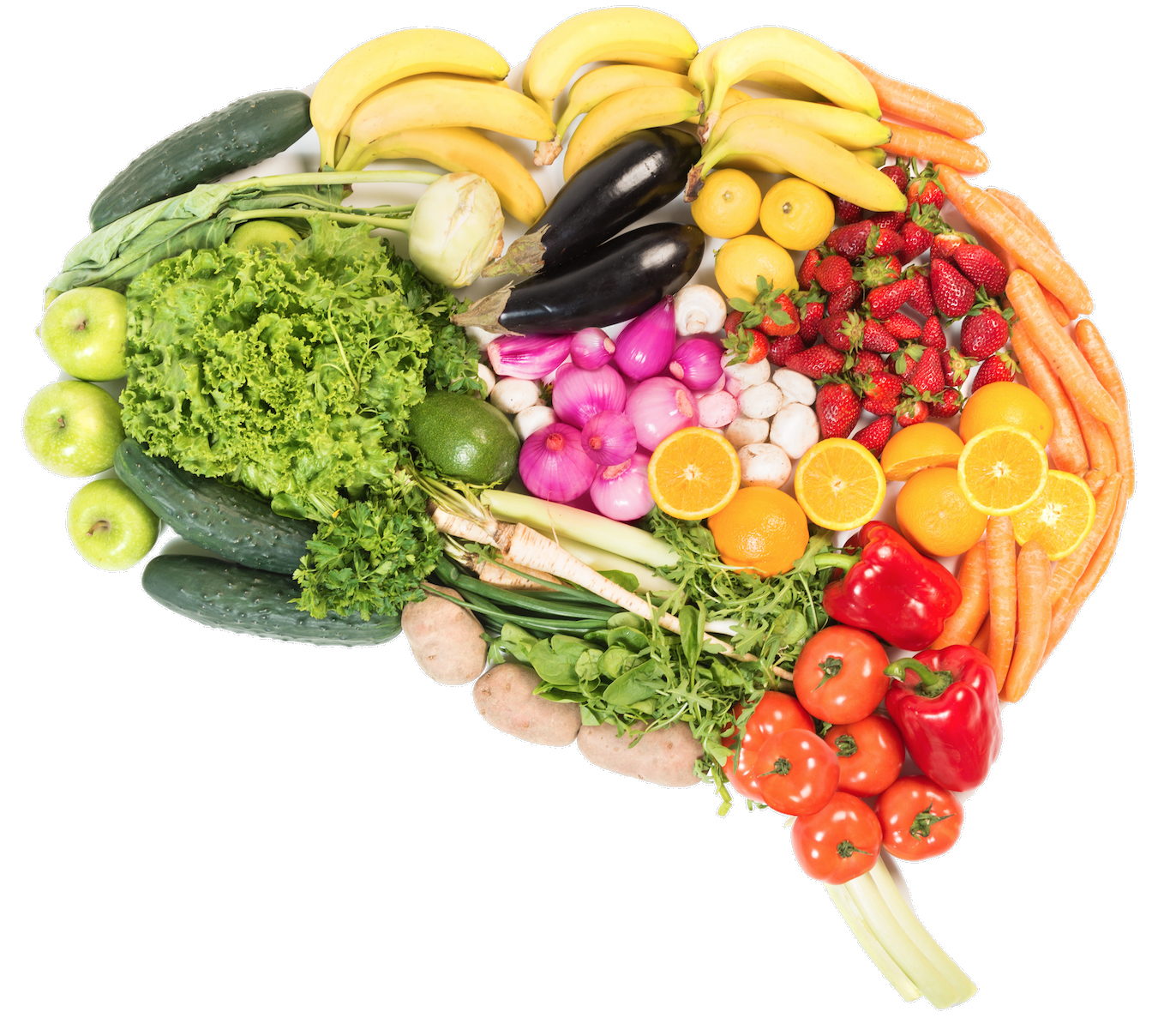 Image of fruit and vegetables arranged in the shape of a human brain.