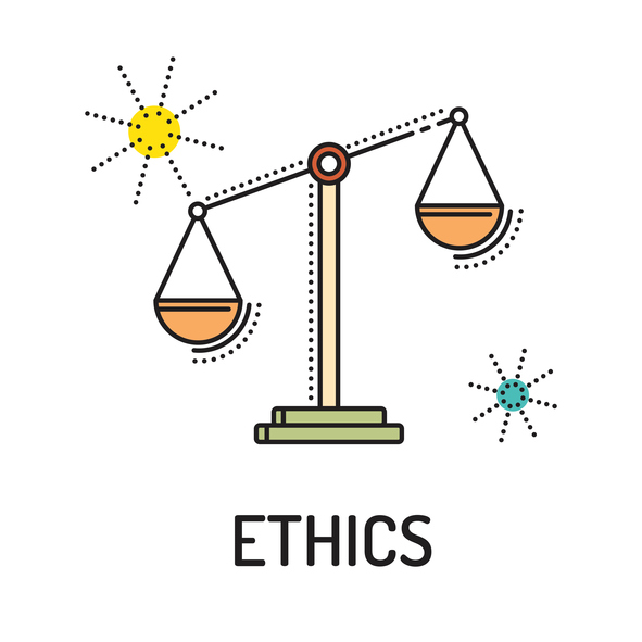 Illustration of balance scale titled ethics